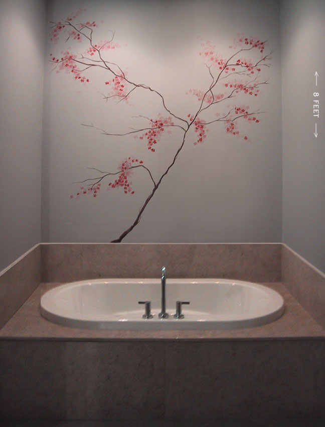 Paintings for Cherry blossom wall mural stencil